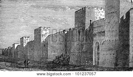 Fortified wall of Roman construction, vintage engraved illustration. Industrial encyclopedia E.-O. Lami - 1875.