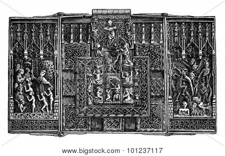 Iron lock of the fifteenth century, vintage engraved illustration. Industrial encyclopedia E.-O. Lami - 1875.