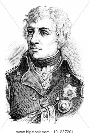 Nelson, vintage engraved illustration. History of France - 1885.