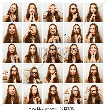 Collage of woman different facial expressions, ready for party