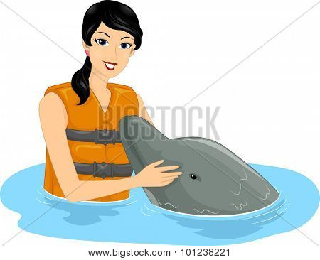Illustration of a Girl Patting a Friendly Dolphin on the Snout