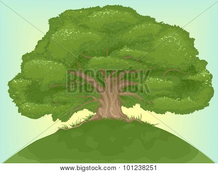 Illustration of a Giant Tree on Top of a Hill