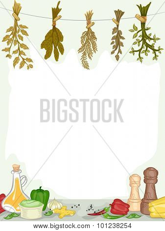 Frame Illustration of Organic Spices and Condiments