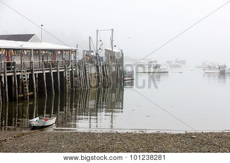 Lobster fshing village in Maine on a foggy day