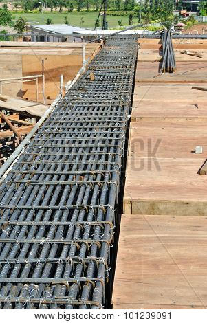 Beam steel reinforcement bar at the construction site