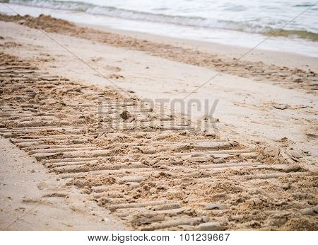Beach Destroyed By The Heavy Machine