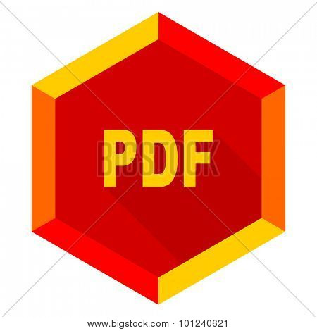 pdf flat design modern icon with long shadow for web and mobile app