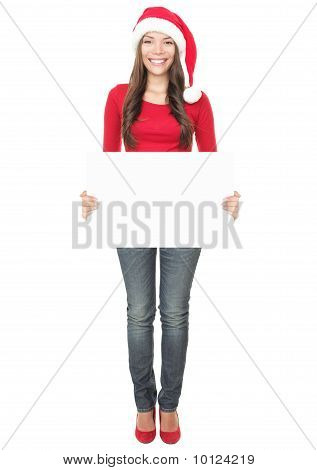 Santa Woman Showing Blank Sign Full Length