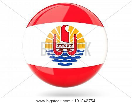 Round Icon With Flag Of French Polynesia