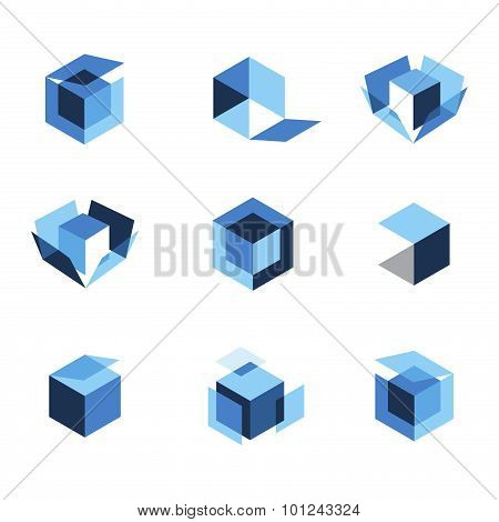Blue box icons open closed and folded