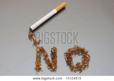 Word No From Tobacco And A Cigarette