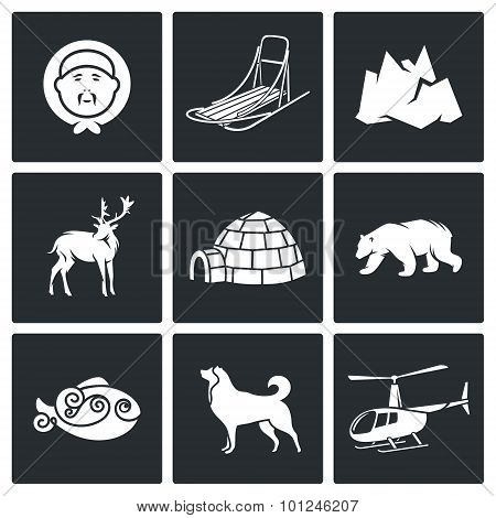 Population And Fauna Of The North Vector Icons Set