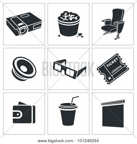 Hiking In The Cinema Vector Icons Set