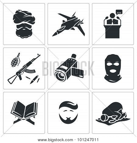 Crime And Religion Vector Icons Set