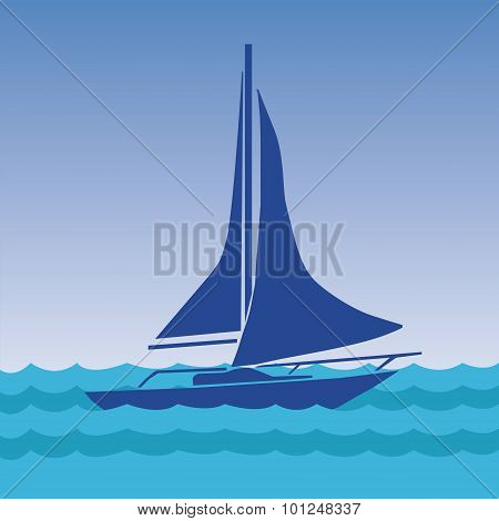Sailing boat with deflated sails in the sea