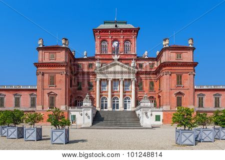 Facade of Racconigi palace - former royal residence of Savoy house in Piedmont, Northern Italy.