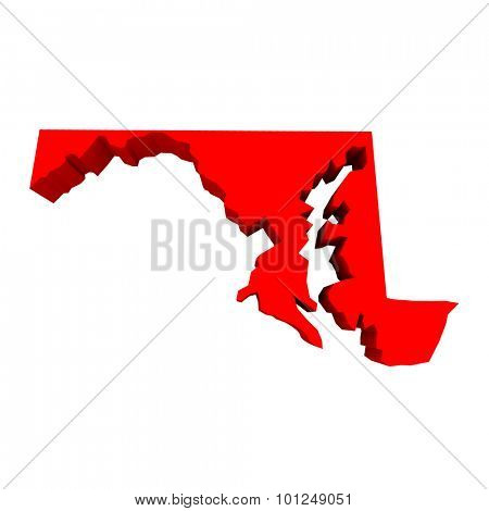 Maryland MD Red USA 3d State Map