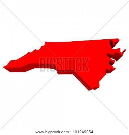 North Carolina NC Red USA 3d State Map