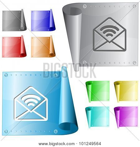 open mail with sound. Vector metal surface.