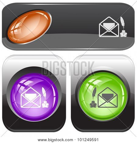 mail with feather and ink stand. Vector internet buttons.