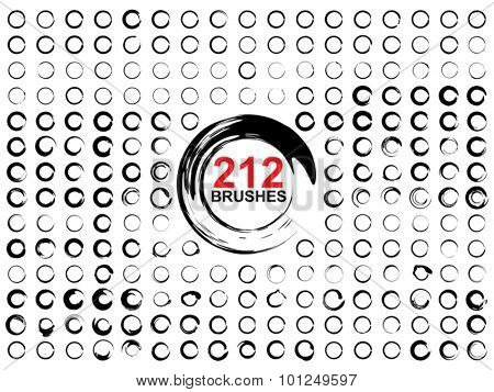 Vector very large collection or set of 212 black paint hand made creative round circle brush strokes isolated on white background
