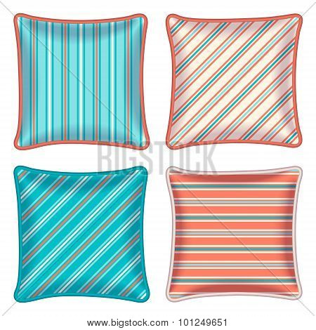 Four Striped Throw Pillows