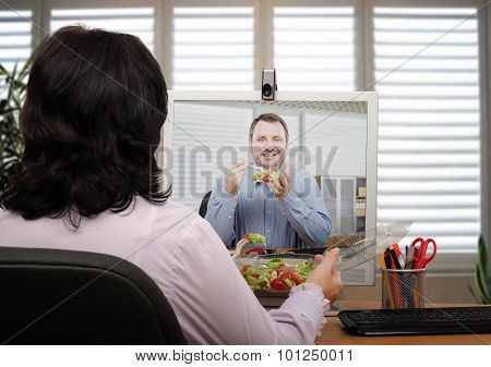 Video chat during fresh salad eating