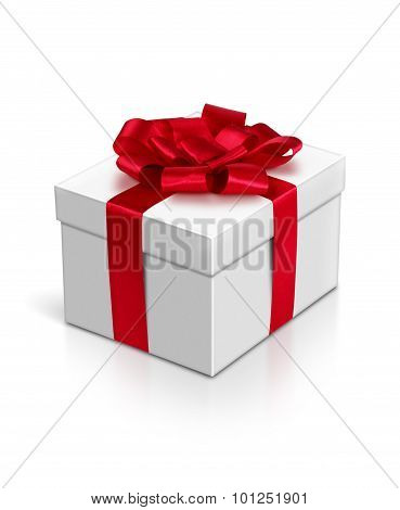 Gift Box With Red Ribbon And Bow Isolated On White, Clipping Path