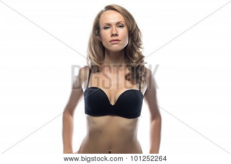 Blond woman in black lingerie
