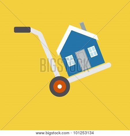 House is on a cart, symbolizing the sale, rental, moving or trai