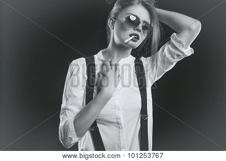 Woman With Suspenders Smoking Sensual A Cigarette