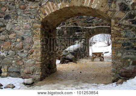 Sigulda, Latvia - March 17, 2012: Renewed Ruins Of Sigulda Old Castle. Sigulda Old Castle Was Built