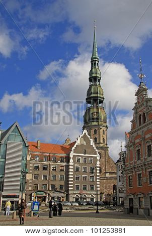 Riga, Latvia - March 19, 2012: St. Peter's Is A Lutheran Church In Riga, The Capital Of Latvia. The