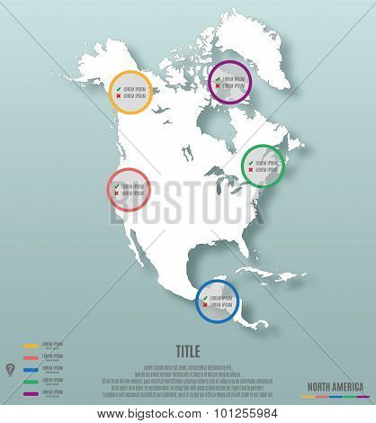 North America Continent Template For Infographics