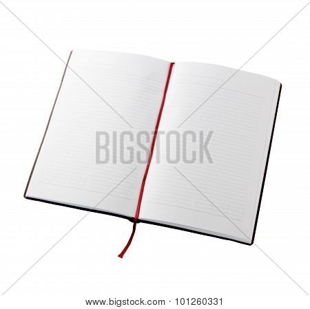 Open Blank Book With Lines, Red Bookmark