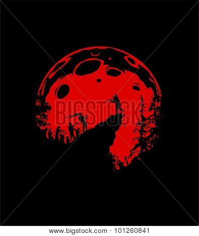 Zombie Silhouette Scenery, Red Moon Background