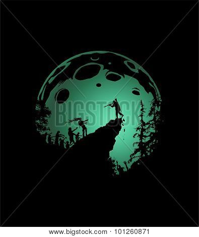 Zombie Silhouette Scenery, shaded green Moon Background