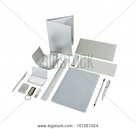 Silvery Corporate Identit Isolated On White Background
