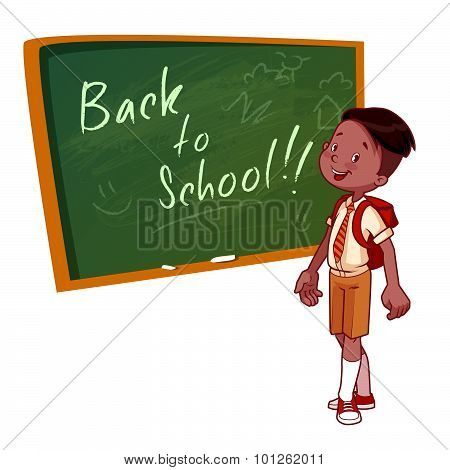 Cute Schoolboy In Uniform Stands Near The School Board. Vector Illustration On A White Background. B