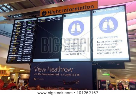 Heathrow flight information board