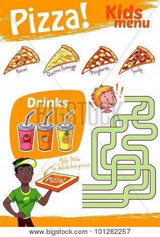 Kids Menu Pizza With Maze Game. Vector Illustration A4 Size. Template Menu.
