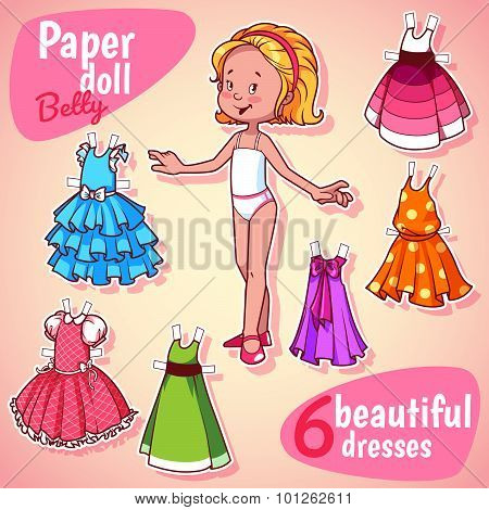 Very Cute Paper Doll With Six Beautiful Dresses. Blonde Girl. Vector Illustration On A White Backgro