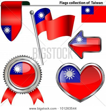 Glossy Icons With Flag Of Taiwan, Usa
