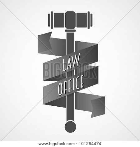 Law Office, Lawyer Services Vector Logo.  Vintage Labels Of The Judge, The District Attorney.