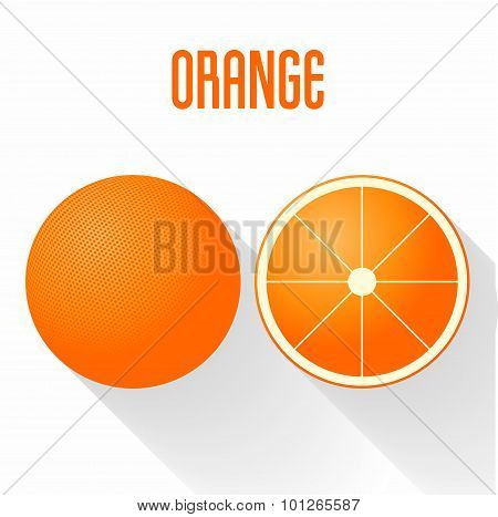 Flat Design Style Orange Icon Vector Illustration. Sliced And Solid