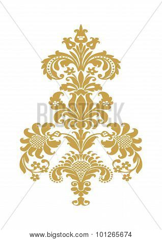 Vector Abstract Flower Gold Element Design Isolated