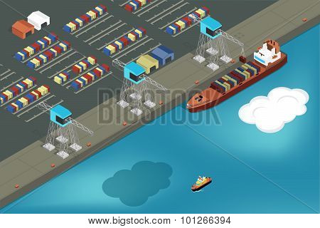 Cargo port. Commercial ship loading containers