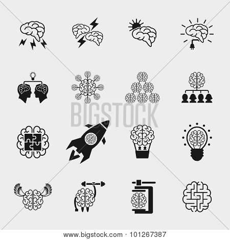 Brainstorming black icons set. Creative brain idea concepts