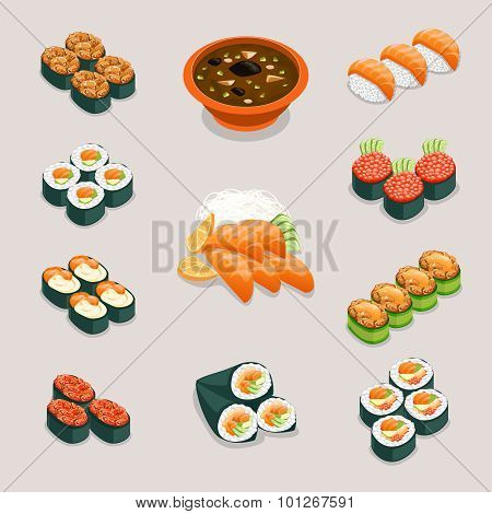 Asia food icons. Rolls sushi, miso soup and sashimi