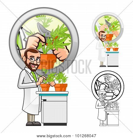 Plant Scientist Cartoon Character Cutting a Leaf from a Plant